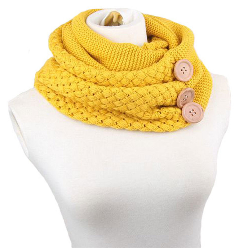 Sheila 2016 Winter Warm Two Circle Cable Knit Wool Cowl Neck Ring Scarf Button Indispensable Feminino Cachecol Anel Oct12