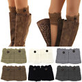 FUNOC Women Ladies Crochet Knitted Button Boot Cuffs polainas Stretch Knit Leg Warmers Toppers Winter Liner Lace Boot Socks Z2