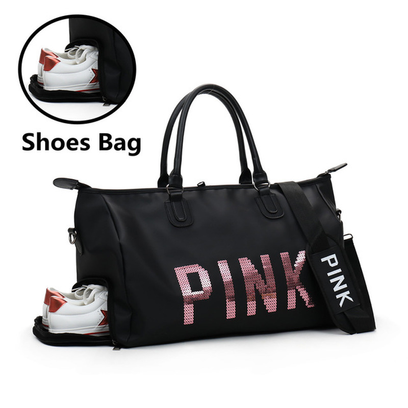 2019 Newest Design Sequins Black Women Gym Bag Fitness Travel Handbag Outdoor Separate Space For Shoes Sac Sports Women's Bag