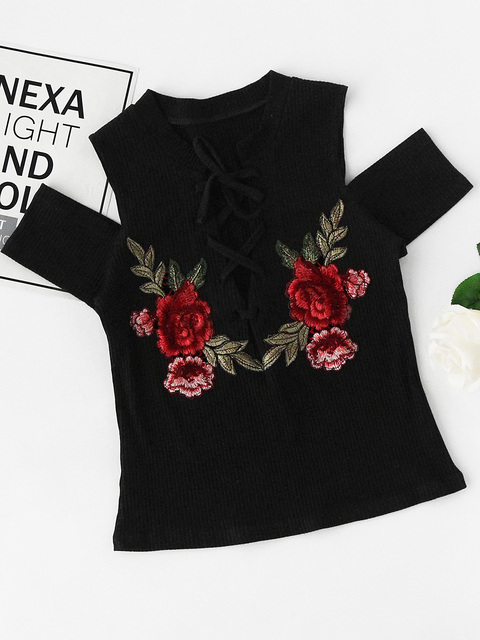 Woman Black Lace Up Tshirt Kitted Tops Punk Tee Embroidery Shirt Femme Clothes 2017 T Shirts Women Summer Tarajuku T-shirts