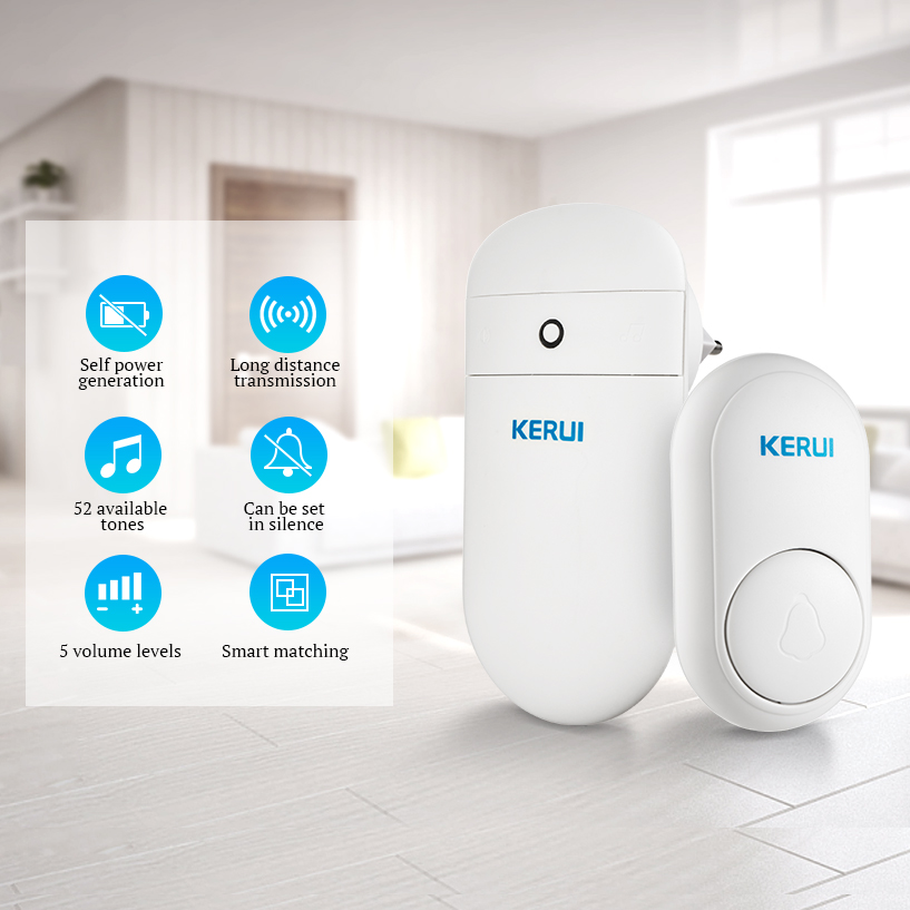 KERUI Self Generation M518 Long Distance Wireless Smart Electronic Remote Control Door Bell Home No Battery Cordless Doorbell