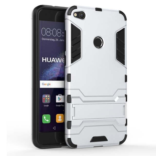 3d armor stand case for huawei p8 lite 2017 shockproof cover for huawei p9 lite silicone pc. Black Bedroom Furniture Sets. Home Design Ideas