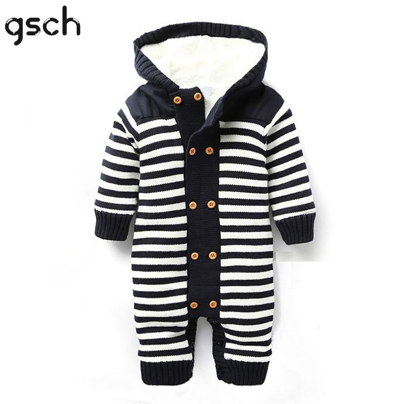 GSCH Christmas Baby Boy Clothes Winter Rompers Stripe Thick Warm Fleece Hooded Newborn Baby Girl Clothes Infant roupa infantil baby products bebe girl bebe boy newborn clothes baby costume thick warm infant baby rompers kids winter clothes jumpsuit hooded