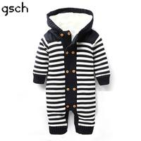 GSCH Christmas Baby Boy Clothes Winter Rompers Stripe Thick Warm Fleece Hooded Newborn Baby Girl Clothes Infant roupa infantil