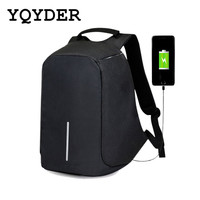 Men Canvas Anti Theft USB Backpack Charge 15 Inch Waterproof Laptop Backpack For Women Travel Bagpack