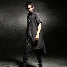 Весна Осень удлиненная Асимметричная рубашка мужская с длинным рукавом черная свободная облегающая удлиненная хип-хоп Топ