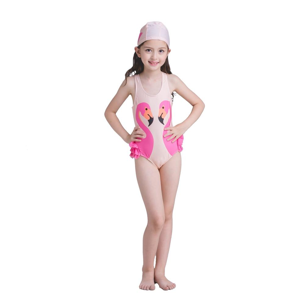 un pezzo pappagallo cigno fenicotteri bambini costume da bagno bambino costumi da bagno ragazza fumetto stampato