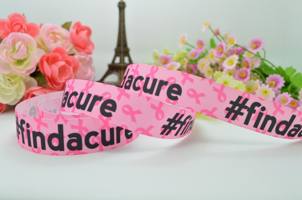"""Grosgrain Breast Cancer Find a Cure Ribbon 7//8/"""" 22mm"""
