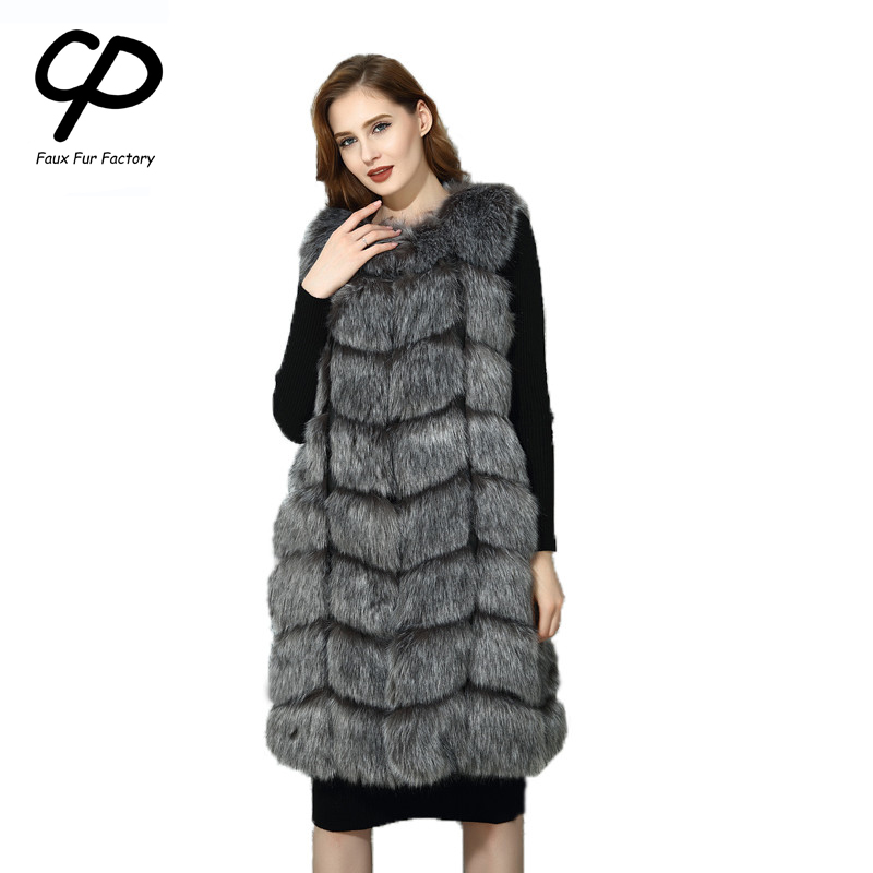 CP Faux Fur Factory Fox Faux Fur Vest Women Winter Warm Fox Artifical Fur Waistcoat Middle Long Coat Ladies Faux Furs Wholesale