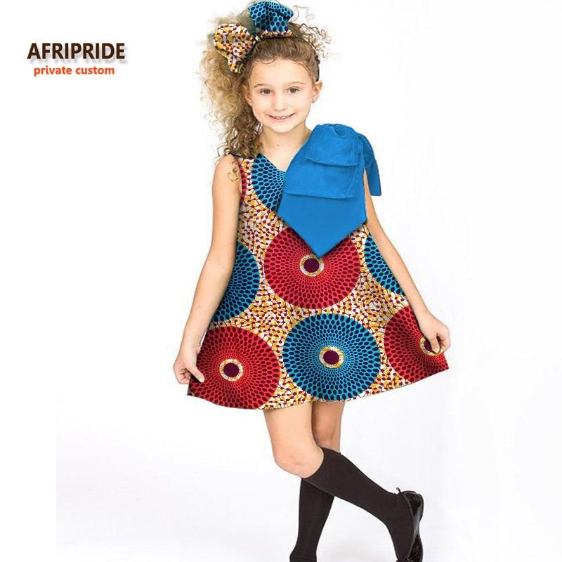 2018 الأطفال ملابس الفتيات اللباس AFRIPRIDE خاصة العرف فوق الركبة بلا أكمام ألف خط اللباس القوس على الكتف الشمع القطن A724506