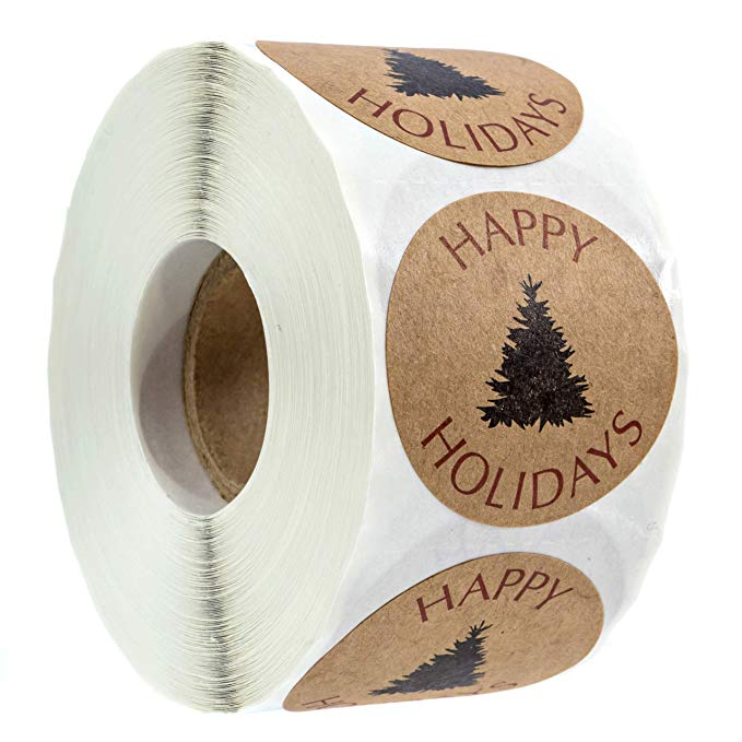 Natural Kraft Christmas Round Sticker