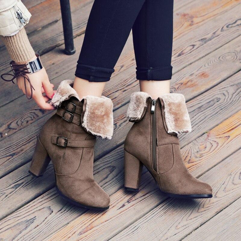 gris S Noir Bottes Plus Femmes Chaussures Pompes Noir Gris vert La Rond Neige Vert 43 34 Dames Bout Cheville Mode Sb034 Femme Taille khaki Romance r4fxq1r