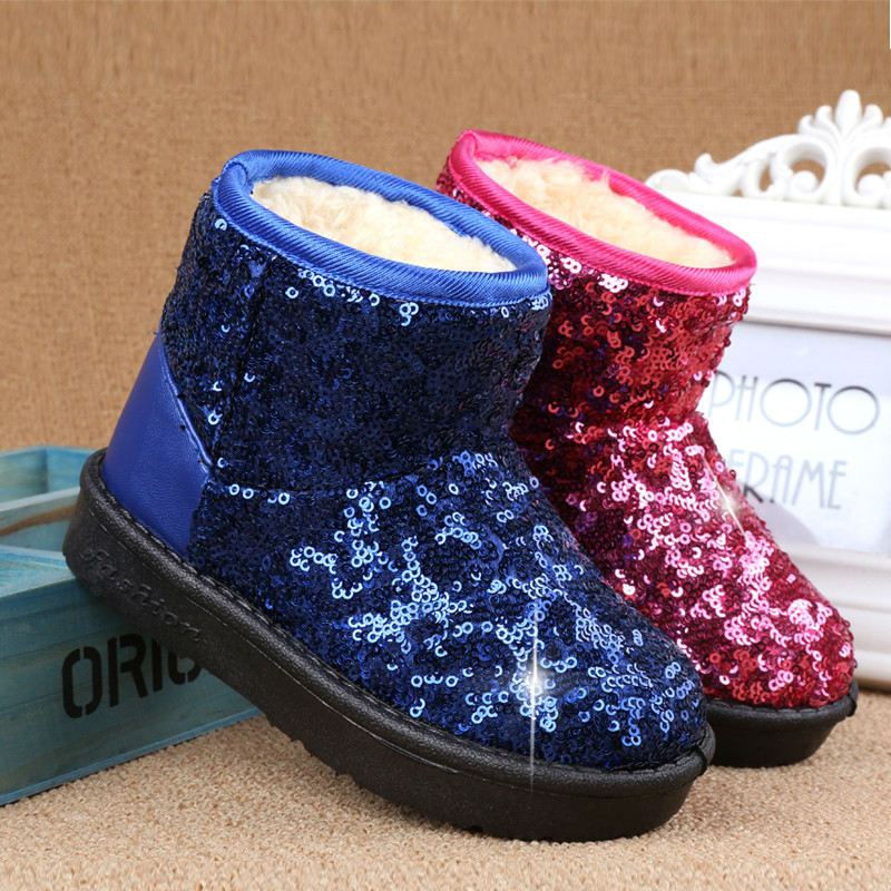Chanjoycc Winter Kids Fashion Snow Boots Warm Baby Girls Shoes Flat With Round Toe Cotton Thick Bling Shoes For Children