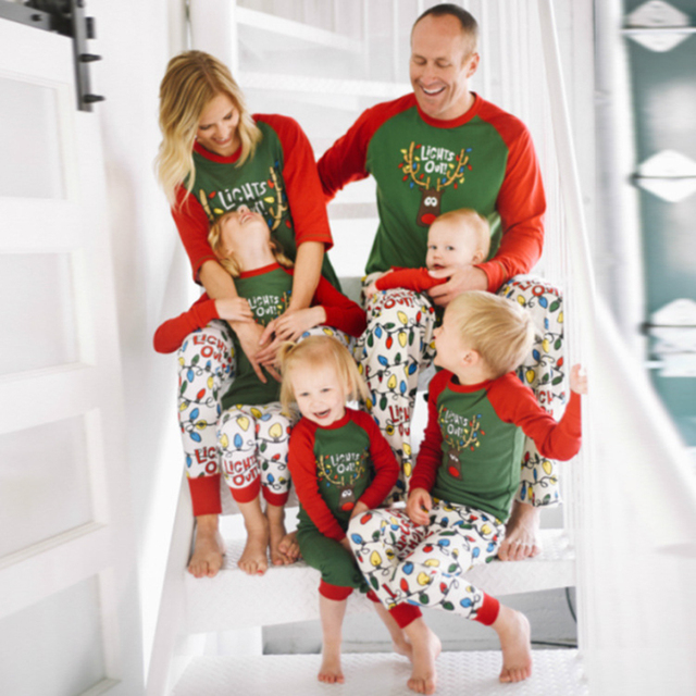 christmas family pajamas set santa adult kids women sleepwear nightwear family matching christmas pajamas 2017 home - Family Pajamas Christmas