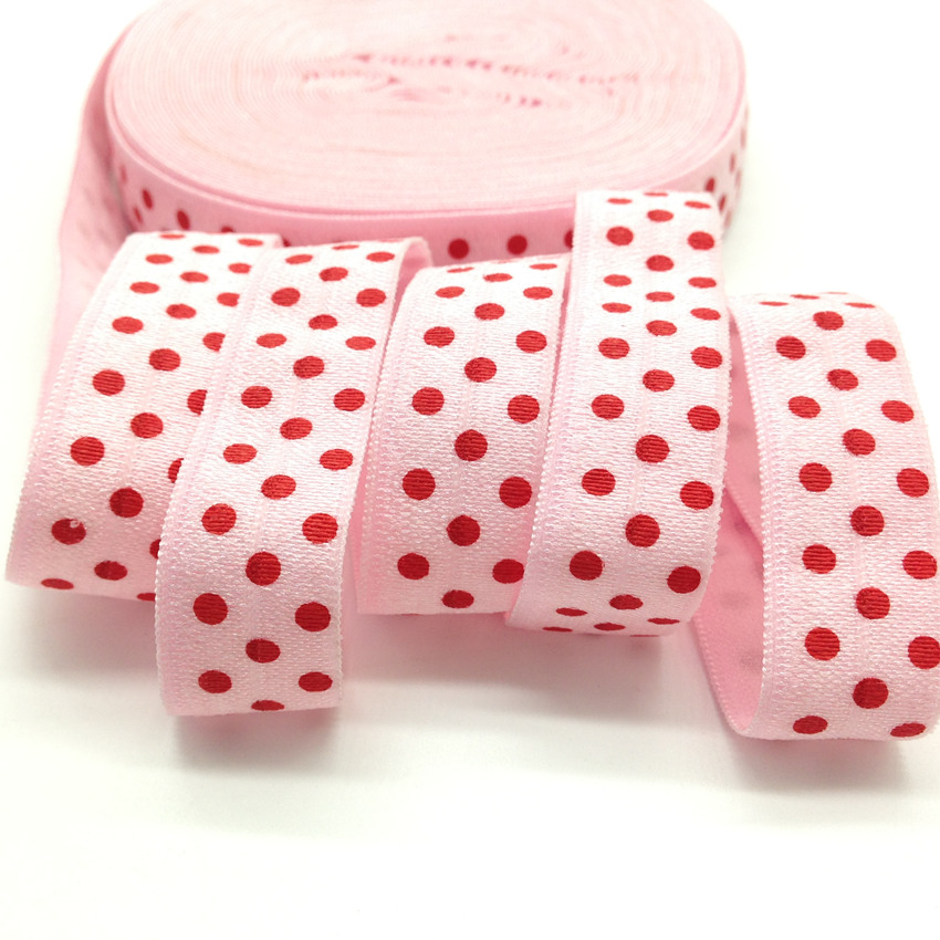 10 yards White Red Pink Yellow Green Polka Dot Dots foldover elastic FOE 5//8/""