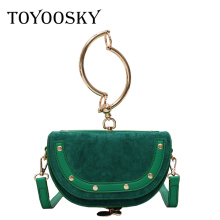 TOYOOSKY 2019 Luxury Women Handbag Brand Shoulder Bag Half Moon Fashion Crossbody Bag Nubuck Leather Ring Ladies Saddle Bag ring detail saddle bag