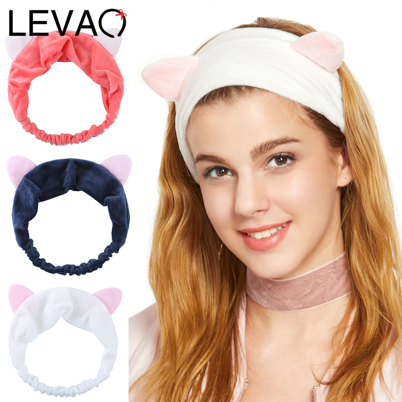 LEVAO Elastic Cat Ears Headbands For Women Girls Makeup Face Washing Headband Mask Headwrap Hairband Hair Accessories