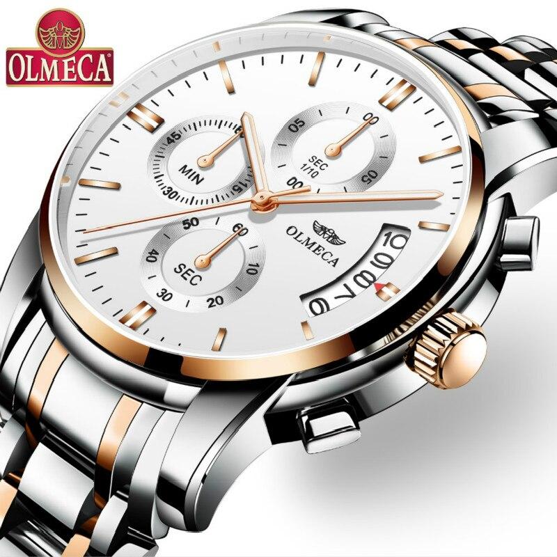 2018 OLMECA Men's Dress Wrist Watch Business Man Analog Clock 3ATM Waterproof Calendar Metal Stainless Steel Men Quartz Watches mike 326 men s business casual analog quartz wrist watch w calendar silver