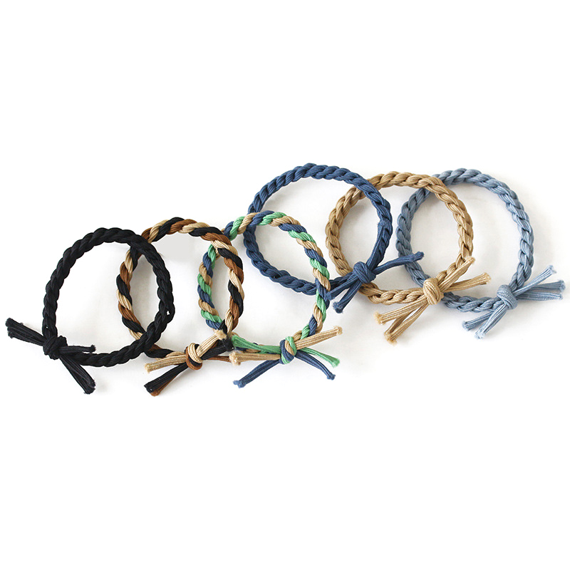 5PCS Elastic Hair Bands Bow Knot Cute Rubber Band Fashion Braided Stretch Hair Ties Ponytail Holder Hair Ornaments Random Color