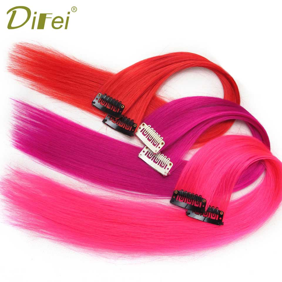 DIFEI Colored Highlight Synthetic Hair Extensions Clip In One Piece Color Strips 16 Long ...