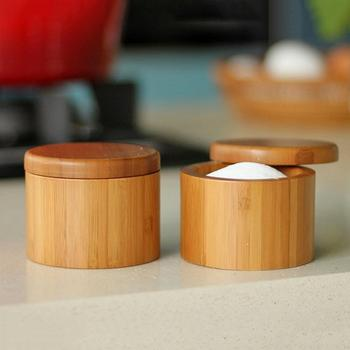 2Pcs Storage Boxes Salt Box Wooden Bamboo Storage Box With Magnetic Swivel Lid Container For Kitchen Storage Containers For Fo 1