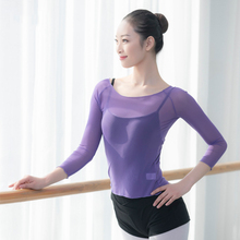 dance tops women long sleeve ballet mesh T shirt off shoulder sheer clothing sexy dancewear