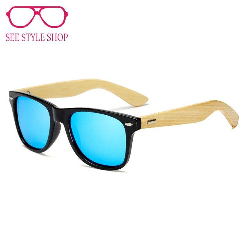 c63ecf2fc KeiKeSweet Polarizada Hot Top de Bambu Homem Mulheres Marca Designer  Espelho Óculos de Sol Raios de