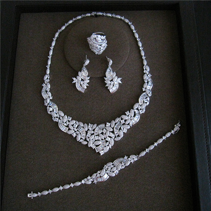 Hot sale Fashion AAA cubic zirconia luxuriant Four pieces of fashion set jewelry set, S1033
