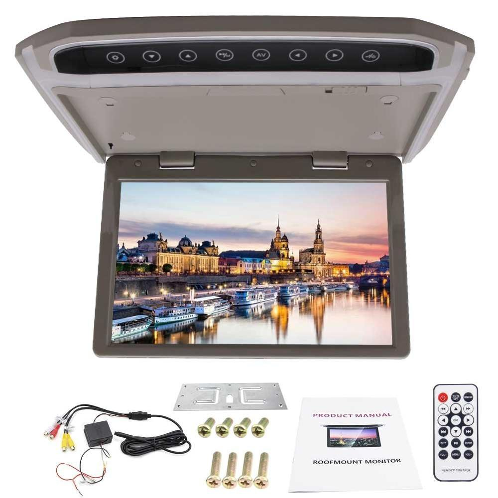 10.2 Inch Car Roof Mount Display HD LCD 1080P Screen Display support FM/Double Dome LED Lights/Video Input+Wireless Remote
