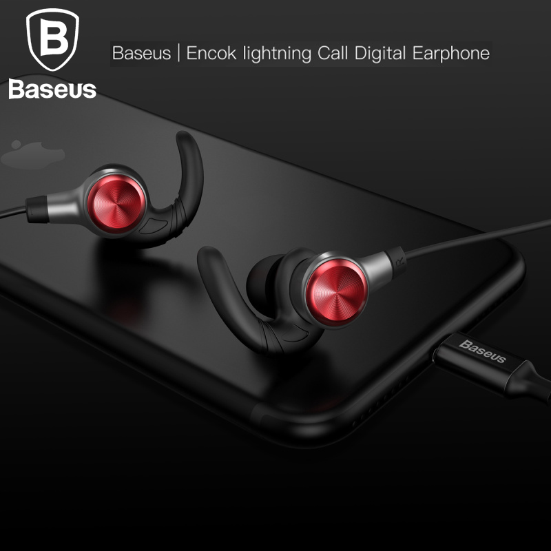 Baseus Hifi Earphone For lightning iPhone 7 7Plus Stereo Headset In Ear Handsfree Earbuds With MIC 8pin Wired Earphone фигура настенная акита 51х70 см крылья 9810