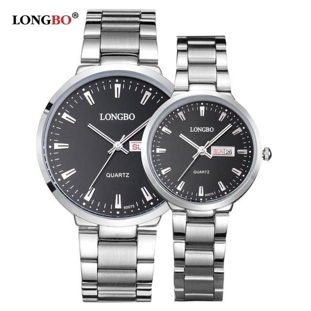 LONGBO Top Brand Luxury Watch Lovers Watch Auto Date Full Steel Watch Men Women Waterproof Watches Quartz Clock Unisex Hour Gift