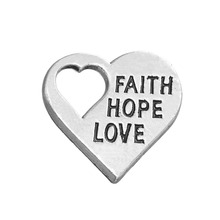 20pcs Love faith hope on heart positive charm