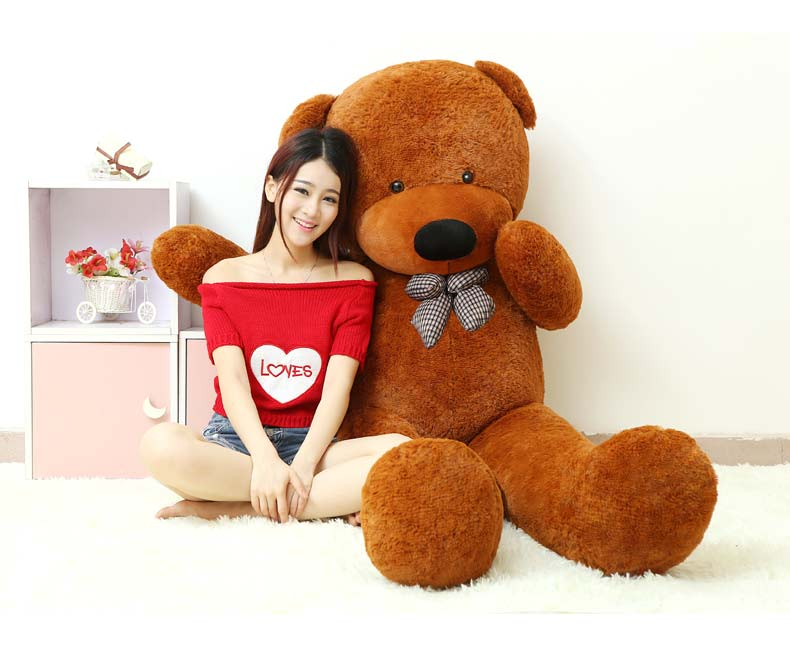 huge plush bowtie teddy bear toy dark brown bear doll hugging pillow gift about 180cm 0012 футболка toy machine leopard brown