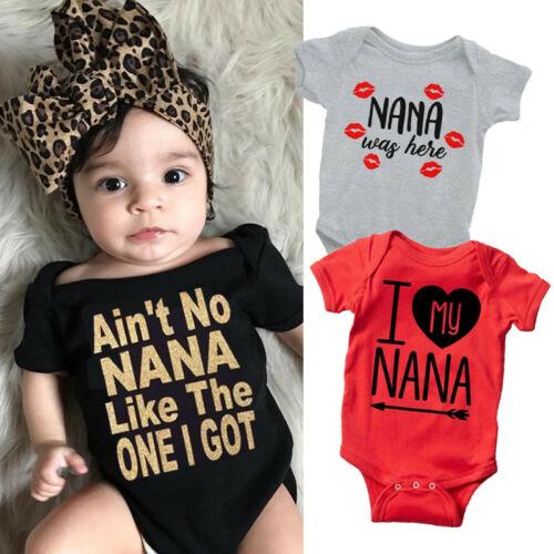Nana Casual Newborn Baby Short Sleeve Bodysuit Romper Infant Summer Clothing Pink