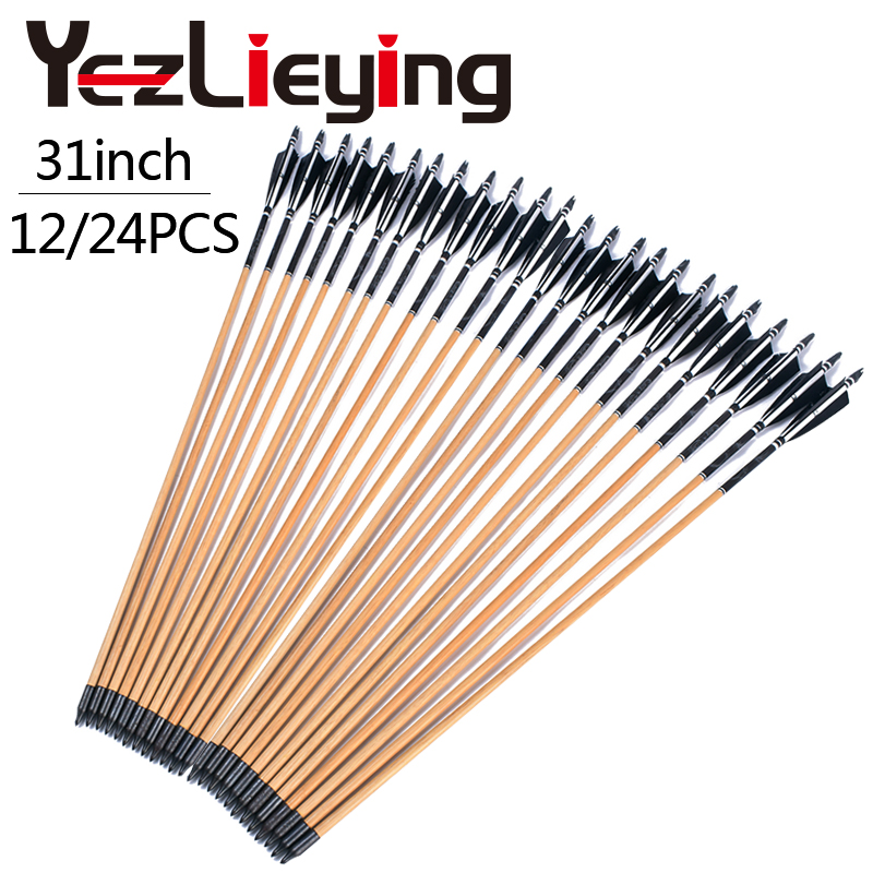 High Quality 12 24PCS Handmade Wooden 80cm Arrows Turkey Feathers 25 50lbs Hunting Archery Shooting Outdoor