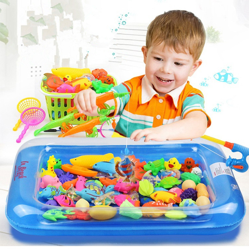 40 шт./лот с надувной бассейн Магнитная рыбалка игрушка Род Чистая набор для детей Детские модели игра рыбалка игры на открытом воздухе игруш...