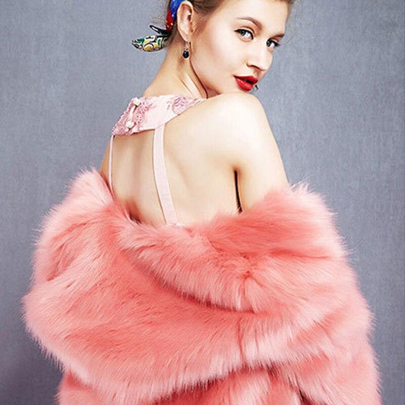 Faux 2018 cou Imitation Manteaux Fourrure La Chaud Femelle Épais Hiver De Femmes V Renard Plus W1493 Taille Long rYw0rSq