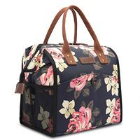 Lunch Bags Floral Lunch Tote Water Resistant Cooler Bag Lunch Box Insulated Lunch Holder Wide Opening Food Bag for Women