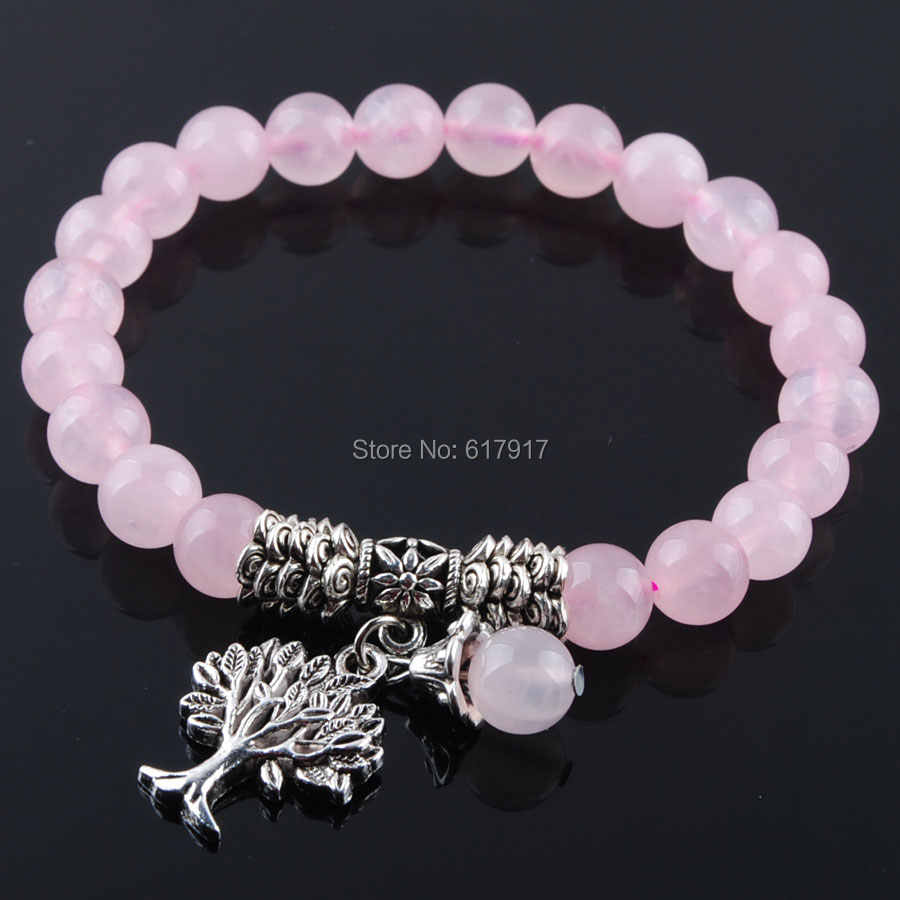 "Natural Rose Quartzs Gem Stone 8mm Beads Women Bracelet Healing Reiki Tree Of Life Charm Meditation Bracelet Jewelry 7"" TK3219"