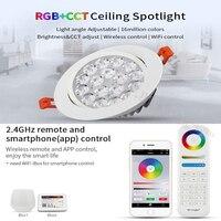 MiLight 2.4G 9 W RGB + SKK LED Tavan Lambası Kısılabilir LED Tavan Spot Yuvarlak Reccessed Işık ile uyumlu FUT089/B8 uzaktan