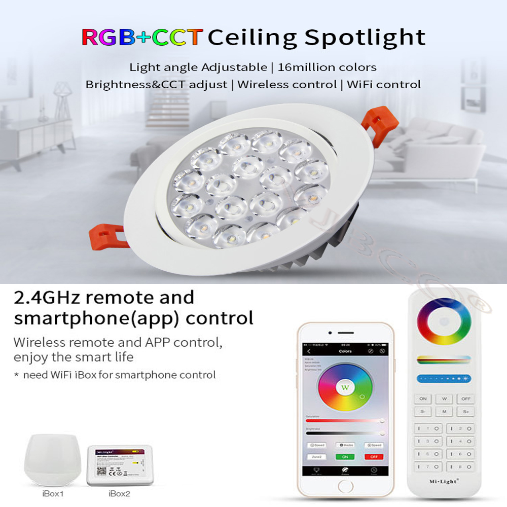 MiLight 2.4G 9W RGB+CCT LED Ceiling Lamp Dimmable LED Ceiling Spotlight Round Reccessed Light compatible with FUT089/B8 remote  milight led bulb dimmable 8w e27 rgb cct led lamp light spotlight rgbww 2 4g smart lampara led house light indoor decoration