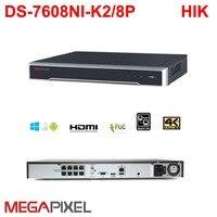Megapixel ip 4K 8ch poe NVR cctv video recorder Embedded Plug & Play DVR Camcorder DS 7608NI i2/8P for hikvision 12mp ip camera