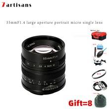 7artisans 55mm F1.4 Large Aperture Portrait Manual Focus Micro Camera Lens Fit for Canon EOSM sony E-Mount Fuji FX Amount lens