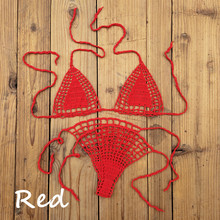 Handmade crochet micro bikini G thong string beach micro swimwear Sexy Lingerie Sets 13 Color