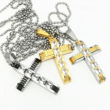 Rhinestone Crystal Cross Necklace Chain & Pendant Gold Color Christian Jewelry Religious Cross Necklace Women/Men Gift