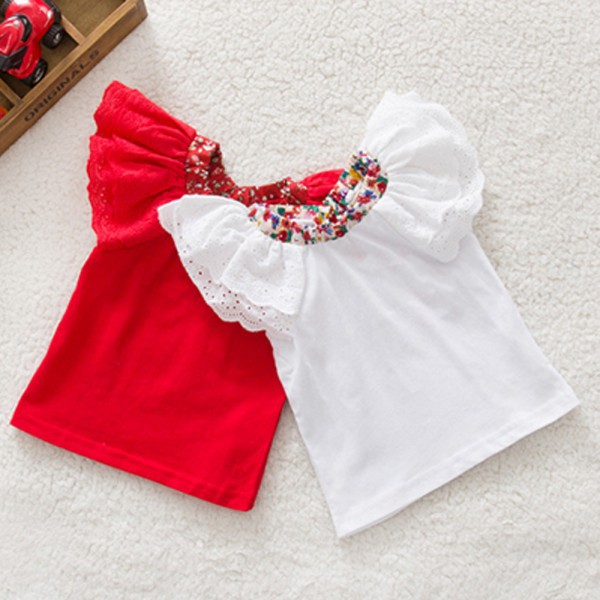 Low Price! New fashion Floral Collar T-shirts Baby Girls Short Sleeve Tops Cute Blouse Shirts 0-2Y Free Shipping