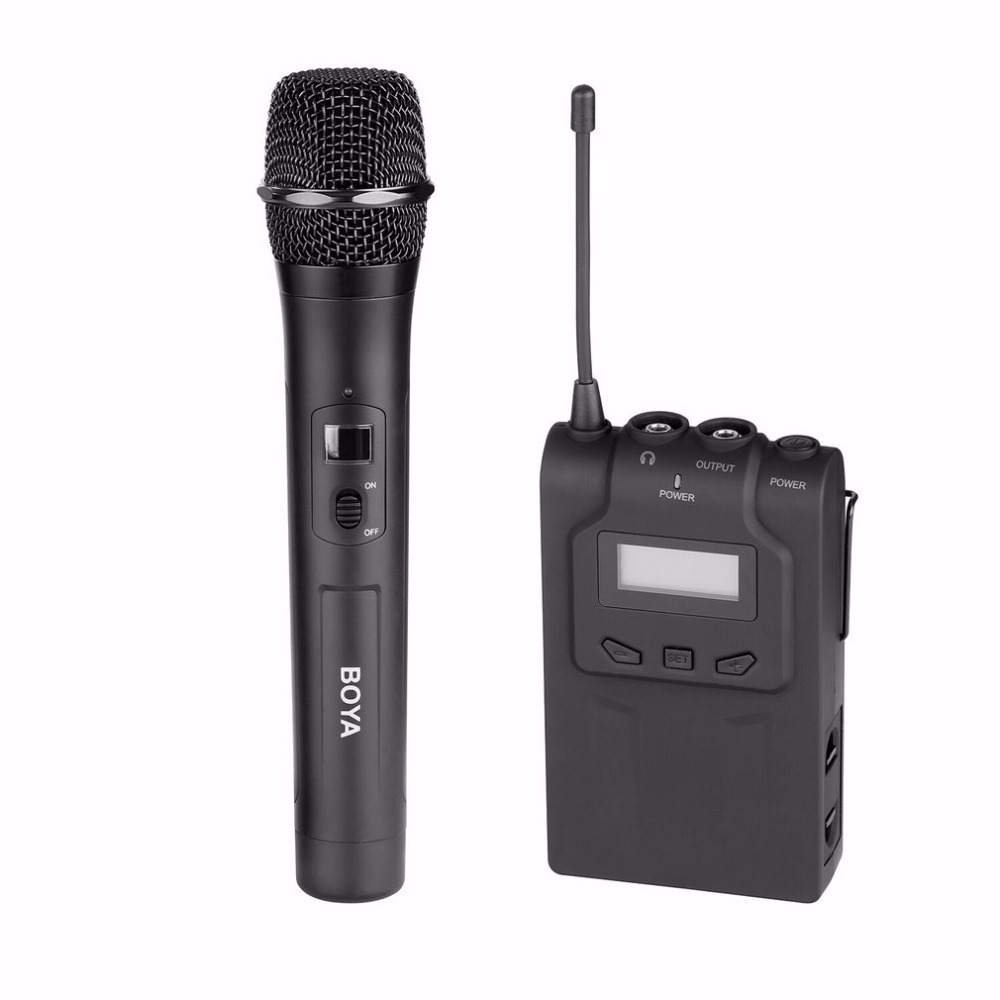 BOYA BY-WHM8 Professional 48 UHF Microphone Dual Channels Wireless Handheld Mic System LCD Display for Karaoke Party Liveshow 2017 fashion men shoes genuine leather mens lace up casual dress business wedding party carving shoes zapatos zapatillas hombre