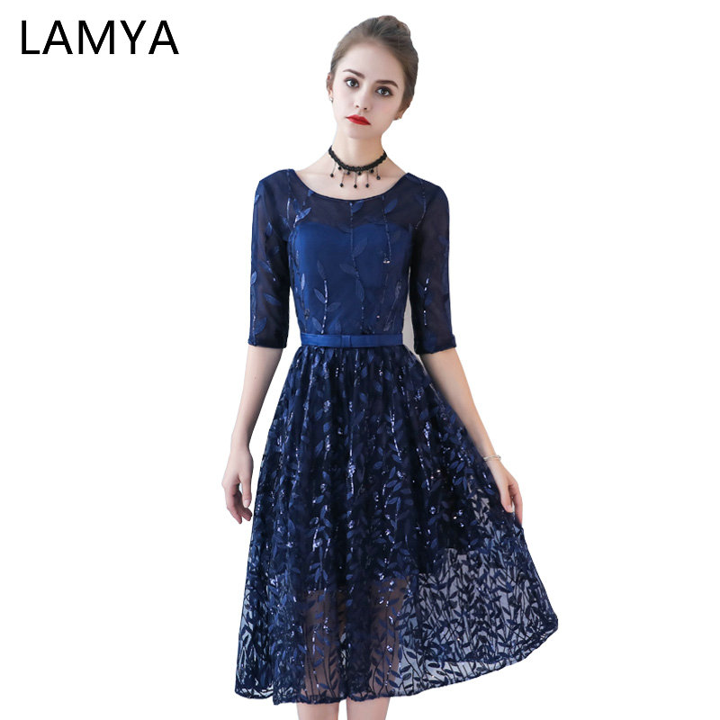 LAMYA Vintage Short Blue   Prom     Dresses   With Half Sleeve 2019 A Line Banquet Evening   Dress   Women Sequined Formal Gown Party Gown