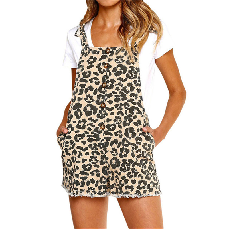 yashangyi Leopard Printed Rompers Bodysuit For Women 2019 Sexy Summer Strap Pockets Playsuit Button Body Mujer Beach Overalls