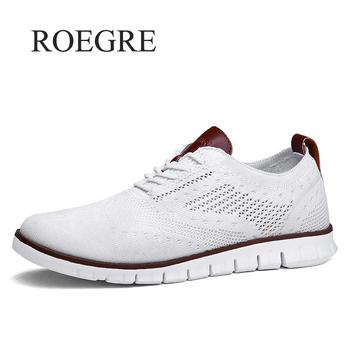 Casual Knitted Mesh Men's Shoes Solid Shallow Lace Up Lightweight Soft Men Sneakers Shoes Breathable Man Footwear Flats 39-48